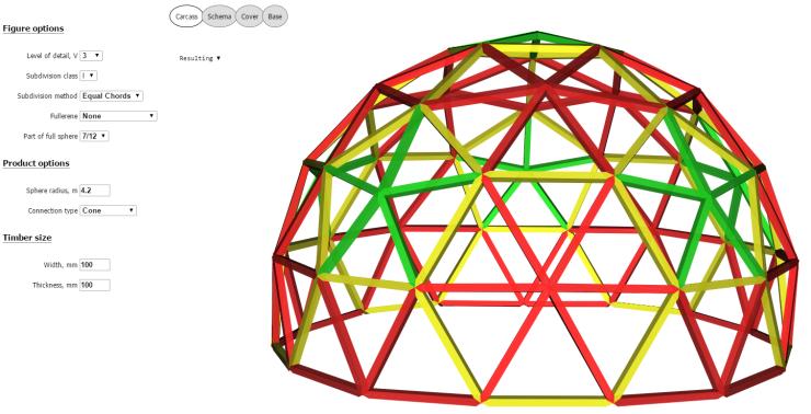 2014-12-13 10_53_57-7_12 Cone 3V R4.2 beams 100x100 - Geodesic dome calculator - Acidome.ru